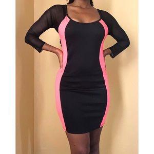 🚨Pink Striped Black Dress